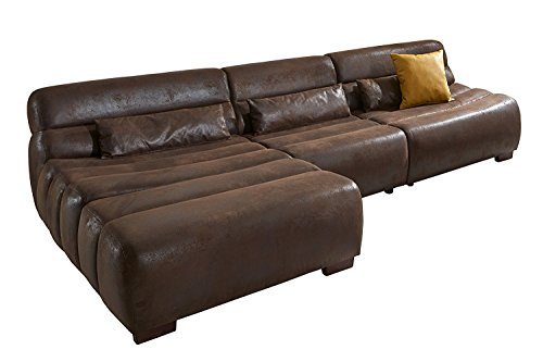 Cavadore Polsterecke Scoutano in Antiklederoptik mit Longchair Links/Sofa L-Form mit XXL Longchair im Industrial Design
