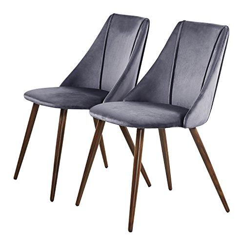 DORAFAIR 2er Set Esszimmerstühle Samt Kissen Küchenstuhl Vintager Retro Sessel Polstersessel,mit Hölzernen stabilen Metallbeine, Grau