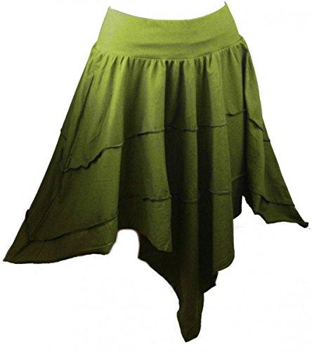 Dark Dreams alternative kleidung Ethno Nepal Gothic Hexe Witchy Elfe Rock Zipfel Skirt oliv grün bordeaux schwarz 36 38 40 42