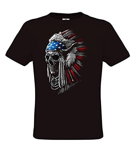 DarkArt-Designs Patriotic Chief Skull - Indianer USA T-Shirt Für Damen und Herren - Gothicmotiv Shirt Metal Biker Rocker Ethno Fun Party&Freizeit Lifestyle Regular Fit
