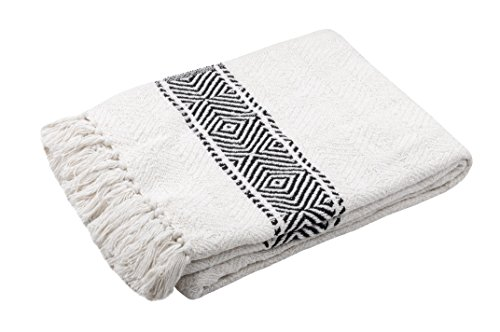 Decke Diskuto - Ethno-Style Plaid - 100% Baumwolle - 125x150cm - Wohn- und Kuscheldecke - Schwarz-Weiß Natur