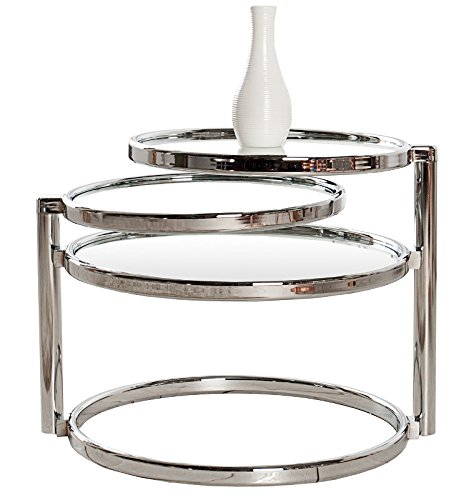DuNord Design Beistelltisch Couchtisch PLATE 3 Art Deco Design Glas/chrom Retro