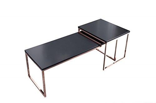 DuNord Design Couchtisch 2er Set schwarz Beistelltisch Tisch Set STAGE LONG Kupfer Design