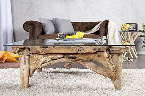 DuNord Design Couchtisch Glas Holz Glastisch Treibholz Tisch TEAK LOUNGE Teak Massivholz Tisch