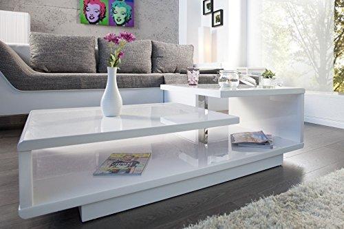 DuNord Design Couchtisch Sofatisch LEVEL 100cm weiss Hochglanz Retro Design Tisch Lounge Möbel