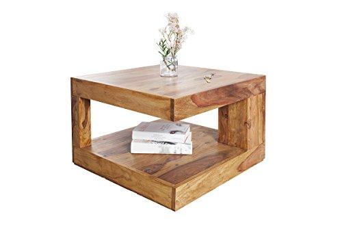 DuNord Design Wohnzimmertisch Massivholz Couchtisch Sheesham natur 60cm Holztisch Massiv Holz GOA Beistelltisch