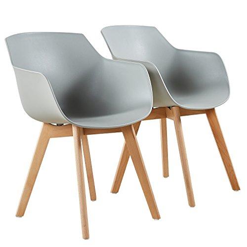 EGGREE Esszimmerstühle Skandinavisch mit Armlehne und Starke Buche Stuhlbeine, Modern Design Sessel für Büro Küche Wohnzimmer, 3 Farben