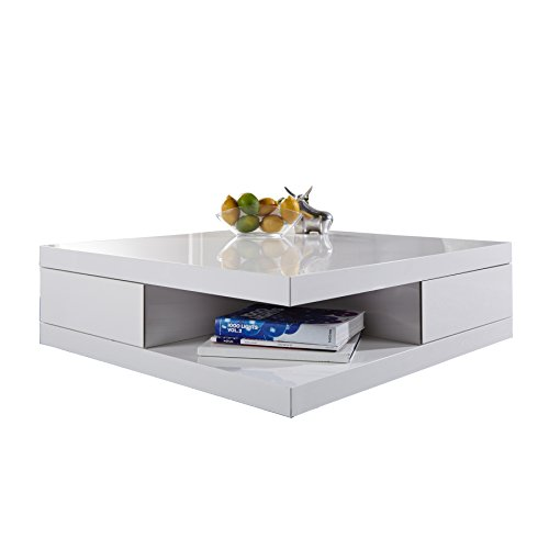 Edler Design Couchtisch FUNCTION weiß Hochglanz 2 Schubladen Beistelltisch