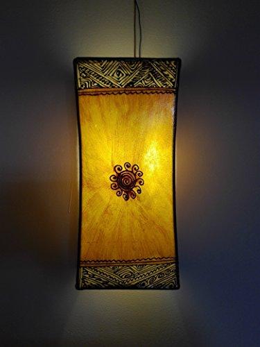 Ethno Einrichtung Wandleuchte Lampe Laterne aus Eisen und Leder handbemalt Henna 1552C2Marokko morocchina Ethnic arabischen Tausend und eine Nacht