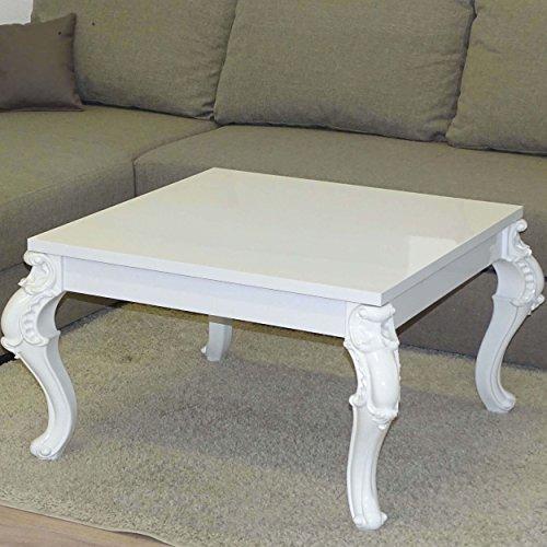Euro Tische Couchtisch Esstisch, Weiß Hochglanz Lack Kratzfest, Wohnzimmer-Tisch Beistelltisch, Orientalisch Barock Vintage Antik, Geschwungene und verzierte Tischbeine, C163_VAR