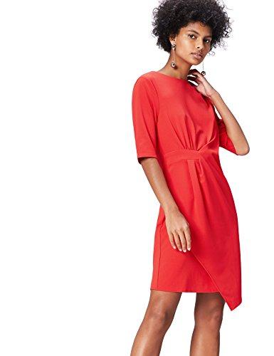 FIND Kleid Damen mit halblangen Ärmeln und Rundem Ausschnitt
