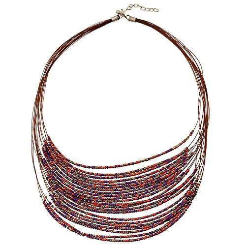 FTHIYK Mode Ethno-Stil Übertreibung Halskette Damen Multilayer Beizhu Perlen