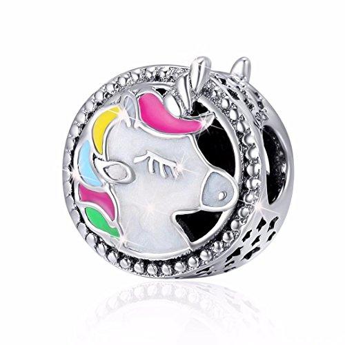 Faona 925er Sterling-Silber mit Anhänger emailliert Geeignet für Charm-Perlen für Armband Halskette Schmuck für Mädchen Damen