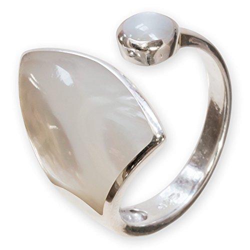 Fly Style Damen-Finger-Ring Perlmutt Muschel echt Silber 925 risi066_perlmutt