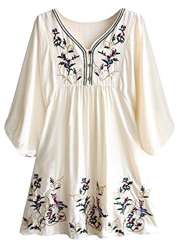Futurino Damen Bohemian Stickerei Floral Tunika Shift Bluse Flowy Minikleid