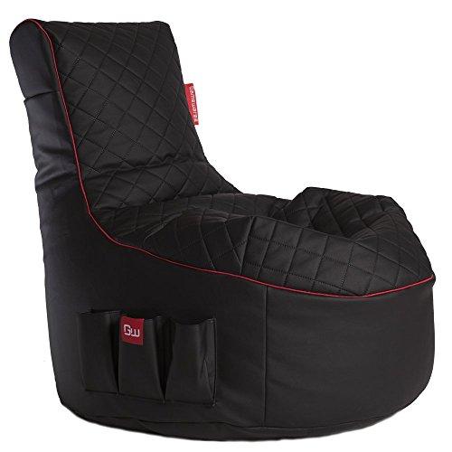 GAMEWAREZ Crimson Hurricane 2.0 Gaming Sitzsack, Made in Germany. für PS4, XBOX360, XboxOne, Nintendo DS, Nintendo Switch, Smartphone, Kunstleder in Schwarz mit Rotem Keder und Tasche