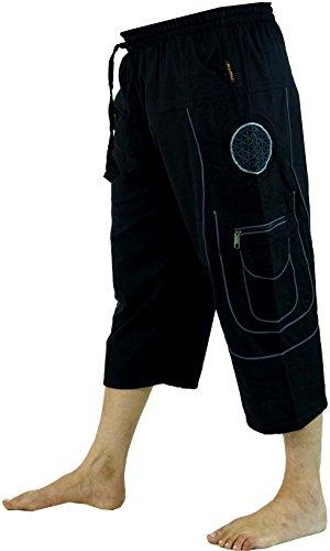Guru-Shop 3/4 Yogahose, Goa Hose, Goa Shorts, Herren Shorts, Baumwolle, Männerhosen Alternative Bekleidung