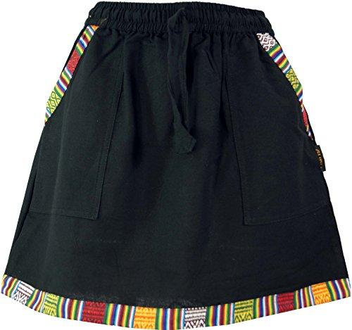 Guru-Shop Ethno Minirock im Goastyle mit Webmuster, Damen, Schwarz, Baumwolle, Size:38, Kurze Röcke Alternative Bekleidung