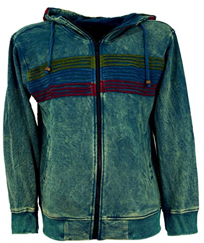 Guru-Shop Goa Hoodie Jacke, Stonewash Ethno Kapuzen Jacke, Herren, Baumwolle, Jacken, Ponchos Alternative Bekleidung