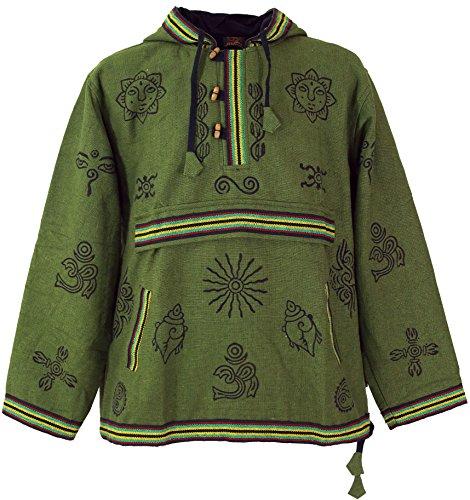 Guru-Shop Goa Kapuzenshirt, Baja Hoody - Olive, Herren, Baumwolle, Sweatshirts & Hoodies Alternative Bekleidung