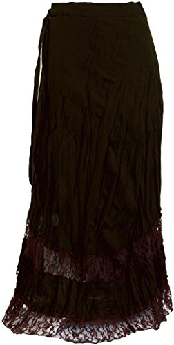Guru-Shop Goa Wickelrock, Hippie Rock, Damen, Braun, Baumwolle, Size:One Size, Lange Röcke Alternative Bekleidung