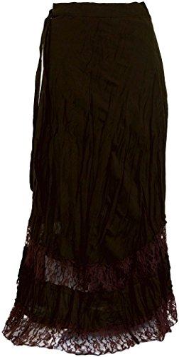 Guru-Shop Goa Wickelrock, Hippie Rock, Damen, Braun, Baumwolle, Size:One Size, Lange Röcke Alternative Bekleidung