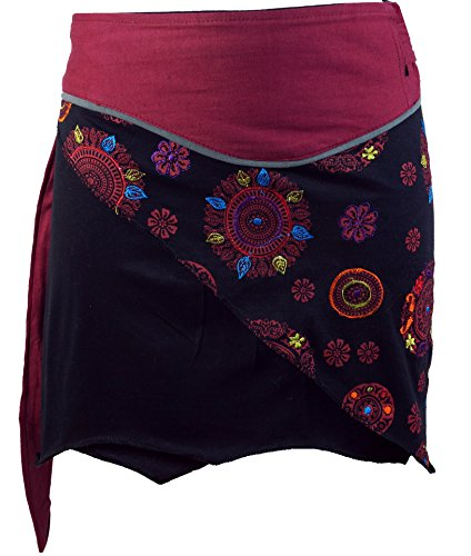 Guru-Shop Minirock Boho Chic, Wickelrock, Damen Rock, Cacheur, Rot, Baumwolle, Size:40, Kurze Röcke Alternative Bekleidung