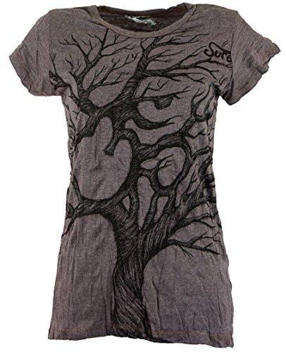 Guru-Shop Sure T-Shirt Om Tree, Damen, Baumwolle, Bedrucktes Shirt Alternative Bekleidung