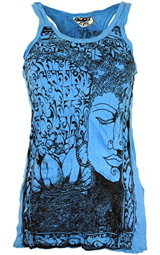 Guru-Shop Sure Tank Top Buddha, Damen, Baumwolle, Bedrucktes Shirt Alternative Bekleidung