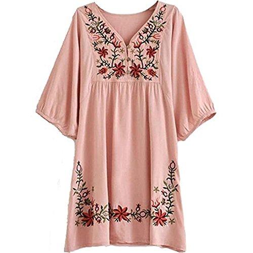 HAOKTY Damen Mexikanischen Ethnischen Floral Gestickten V - Ausschnitt Bluse Boho Mini Kleid