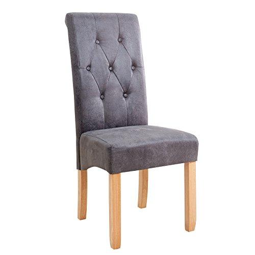 Invicta Interior Edler Kolonial Stuhl VALENTINO mit Nackenrolle grau Vintage Look mit Zierknöpfen Massivholzbeine Eiche
