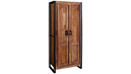 JUSTyou Manar Kleiderschrank Garderobenschrank Drehtürenschrank (HxBxT): 180x80x45 cm Sheesham Schwarz