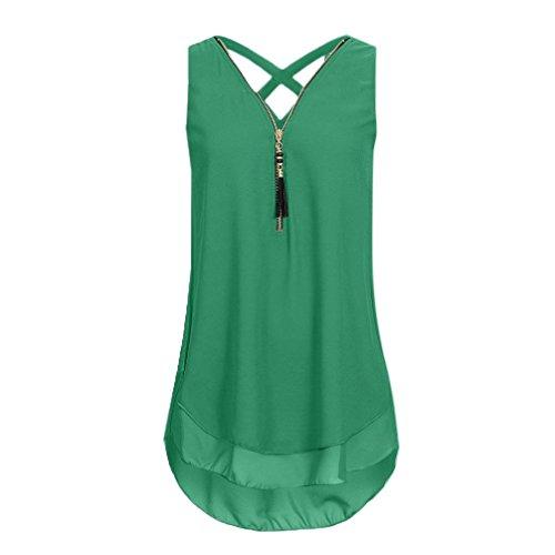 JUTOO Frauen Lose Sleeveless Tank Top Kreuz Zurück Saum Layed Reißverschluss V-Ausschnitt T-Shirts Tops