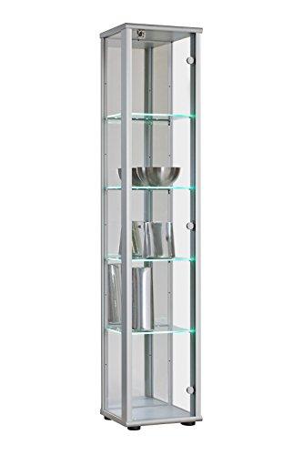 K-Möbel Glasvitrine Austellungsvitrine Sammlervitrine Vitrine in Silber/Alu Glasboden-Beleuchtung Schloss Rückwand mit Spiegel ESG 1-TRG