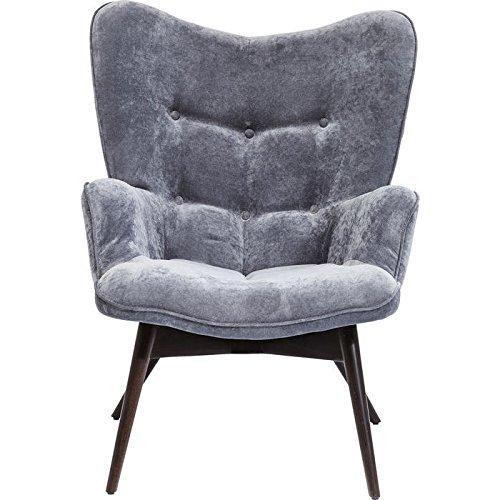 Kare Ohrensessel, Sessel mit Armlehnen, Polstersessel in Grau, pflegeleichte Oberfläche, Füße aus massiver Buche, Polsterung aus Polyurethan, 59x63x92cm