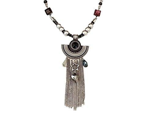 La Loria Statement-Kette Ethno Star Boho Schmuck Halskette Silberkette - Festival Style