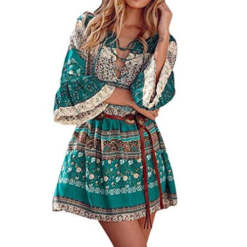 Longra Damen Bohemian Strandkleid 3/4-Arm Sommerkleid Minikleider Tunikakleid Bohemian Strandtunika Damen Vintage Bluse Kleider Kurze Kleider Sommer A-Linie Kleid