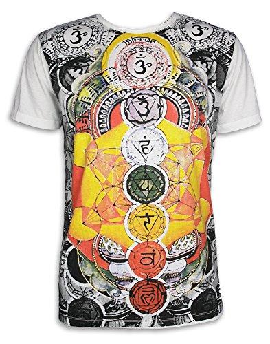 MIRROR Herren T-Shirt - Die 7 Chakras Größe M L XL Psy Yoga Aura Chakras Esoterik Ethno Goa Trance