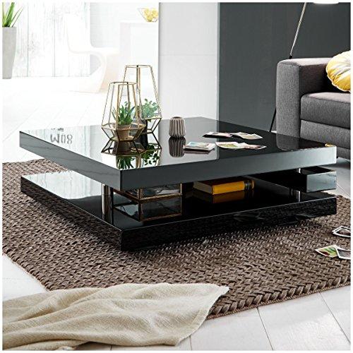 Moebella® Couchtisch schwarz Hochglanz quadratisch Piazza 100x100cm Wohnzimmertisch