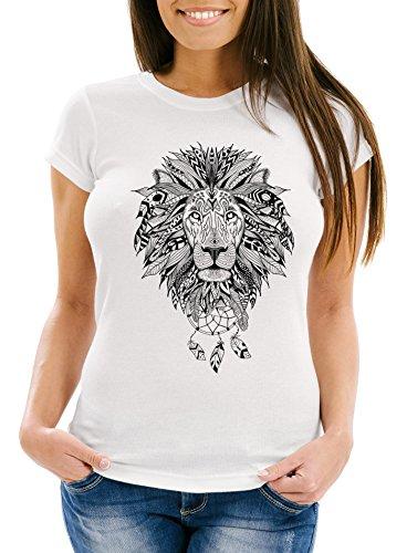 Neverless Damen T-Shirt Löwe Lion Ethno Atzekenmuster Boho Atzec Federn Traumfänger Dreamcatcher