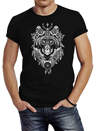 Neverless Herren T-Shirt Wolf Traumfänger Atzekenmuster Boho Bohamian Atzec Ethno