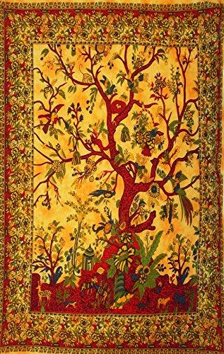 Orange Rot Woven Tree of Life Tagesdecke Bett Sofa Überwurf Bezug Wandbehang Tapisserie Tischdecke Boho Hippie Ethno Picknick Decke