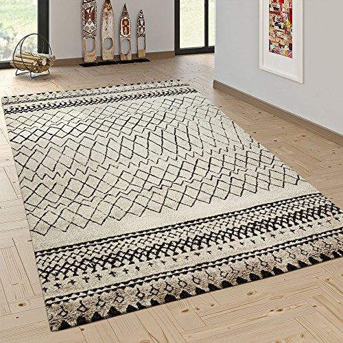Paco Home Designer Teppich Modern Skandinavisch Trend Zick Zack Muster Schwarz Creme
