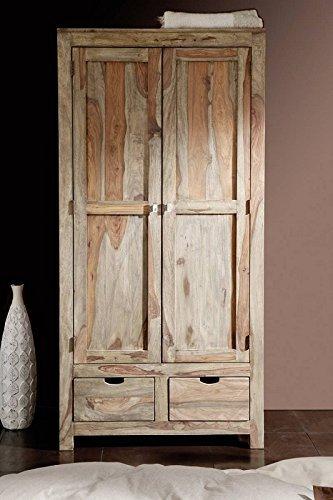 Palisander Massivmöbel Schrank 2-trg. Sheesham Holz massiv Nature Grey #99
