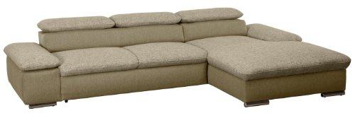 Polsterecke Valerie/3er Bett mit Armteilfunktion-Longchair mit Armteilfunktion