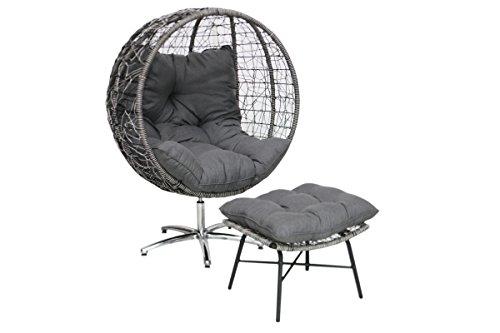 Ribelli Design Outdoor Sessel mit Fußhocker Wetterfest Garten Ball Chair Egg Kugel Terrasse Garten