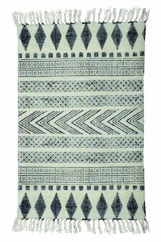 Rug, Block, grey/black, 60x90 cm, 100% cotton