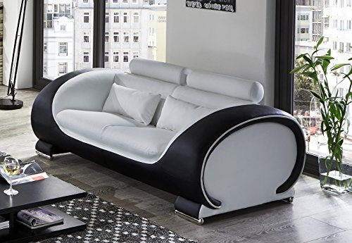 SAM 2-Sitzer Sofa Vigo, weiß/Schwarz, Couch aus Kunstleder