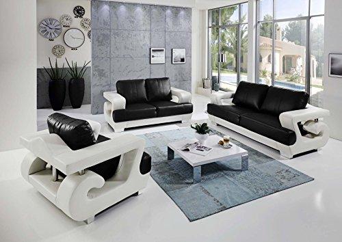 SAM 3tlg Sofa Garnitur Antonio, Weiß/Schwarz, Couchgarnitur aus Lederimitat, 3 Sitzer und 2 Sitzer und Sessel