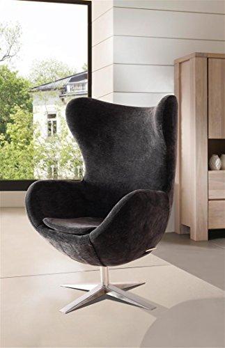 SAM Design Armlehn Stuhl 4620-S in schwarz Armlehnstuhl in Stoff mit Füßen aus Edelstahl, Sessel höhenverstellbar, abnehmbares Sitzkissen, 360° drehbar, bequemer Sitzkomfort